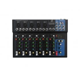 Voice-Kraft i7 Keverőpult, 5 Monó/1 Sztereó csatorna, USB lejátszó, Bluetooth