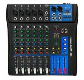 Voice-Kraft EVoice-6 Keverőpult, 5 Monó/1 Sztereó csatorna, USB lejátszó, Bluetooth