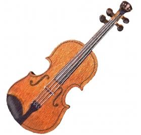Hegedű kitűző fából