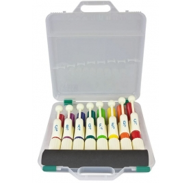 Percussion Plus Set of 8 coloured hand chimes with case