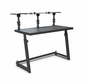 Gravity DJ-asztal – hangszó és laptop tálcával, állítható magassággal, összecsukható, fekete