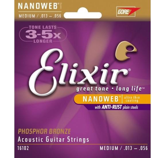 Elixir 11102 Acoustic NANOWEB 80/20 Bronze Medium akusztikus gitár húrkészlet 013-056