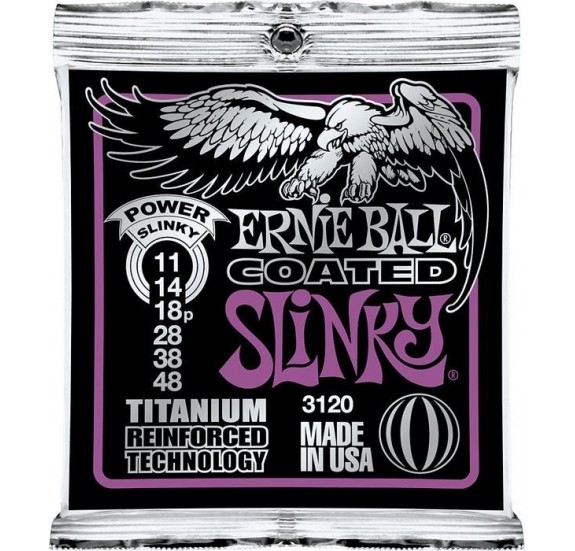 Ernie Ball Coated Tit. Rps Power Slinky 11-48 Elektromos Gitárhúr